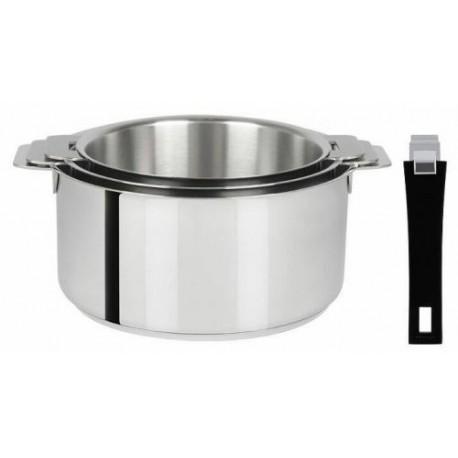 Lot de 3 casseroles amovibles Mutine avec poignée noire