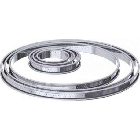 CERCLE A TARTE PERFORE BORD ROULE INOX Ø22X2CM
