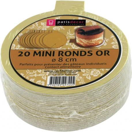Supports à gâteaux ronds or Ø 8cm / 20