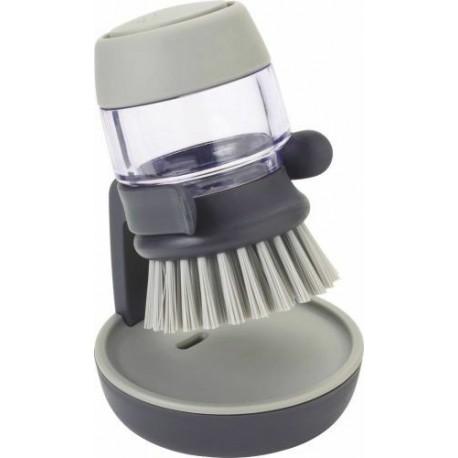 Brosse à vaisselle avec reservoir et porte brosse gris