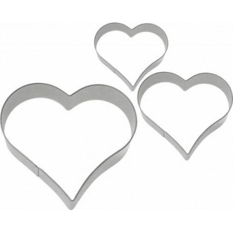 Lot de 3 emporte-pièces inox coeur de 2/3/4 cm