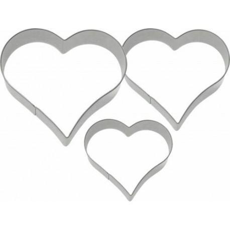 Lot de 3 emporte-pièces inox coeur de 4/5/6 cm