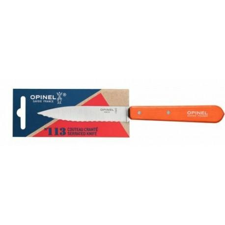 Couteau lame crantée n°113 mandarine 10cm