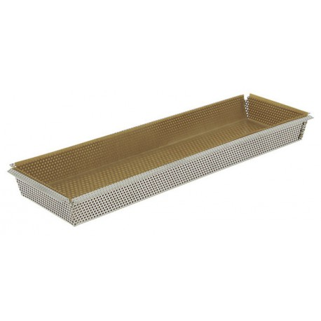 MOULE RECT. FOND AMOVIBLE INOX PERFORE 35X10.5X3.5CM