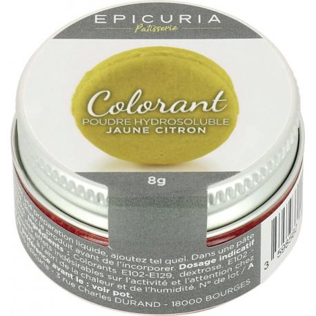 Colorant poudre hydrosoluble jaune citron Epicuria 8g