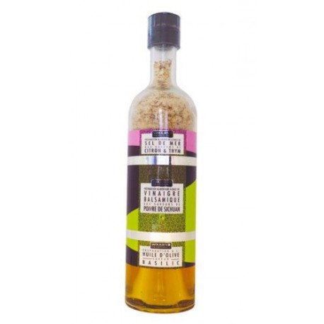Bouteille empilable sel vinaigre huile thym citron