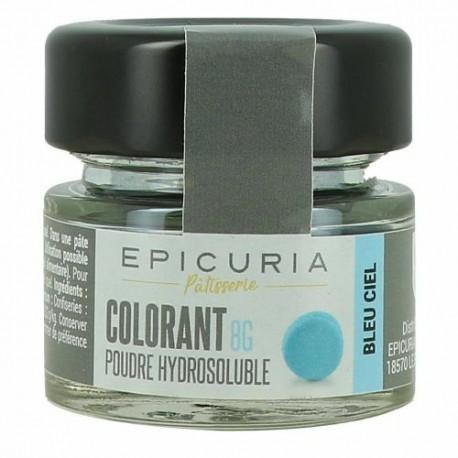 Colorant poudre hydrosoluble bleu ciel Epicuria 8g